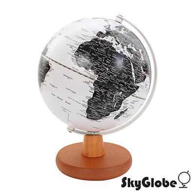 SkyGlobe 8吋白色海洋日式木質底座地球儀(英文版)