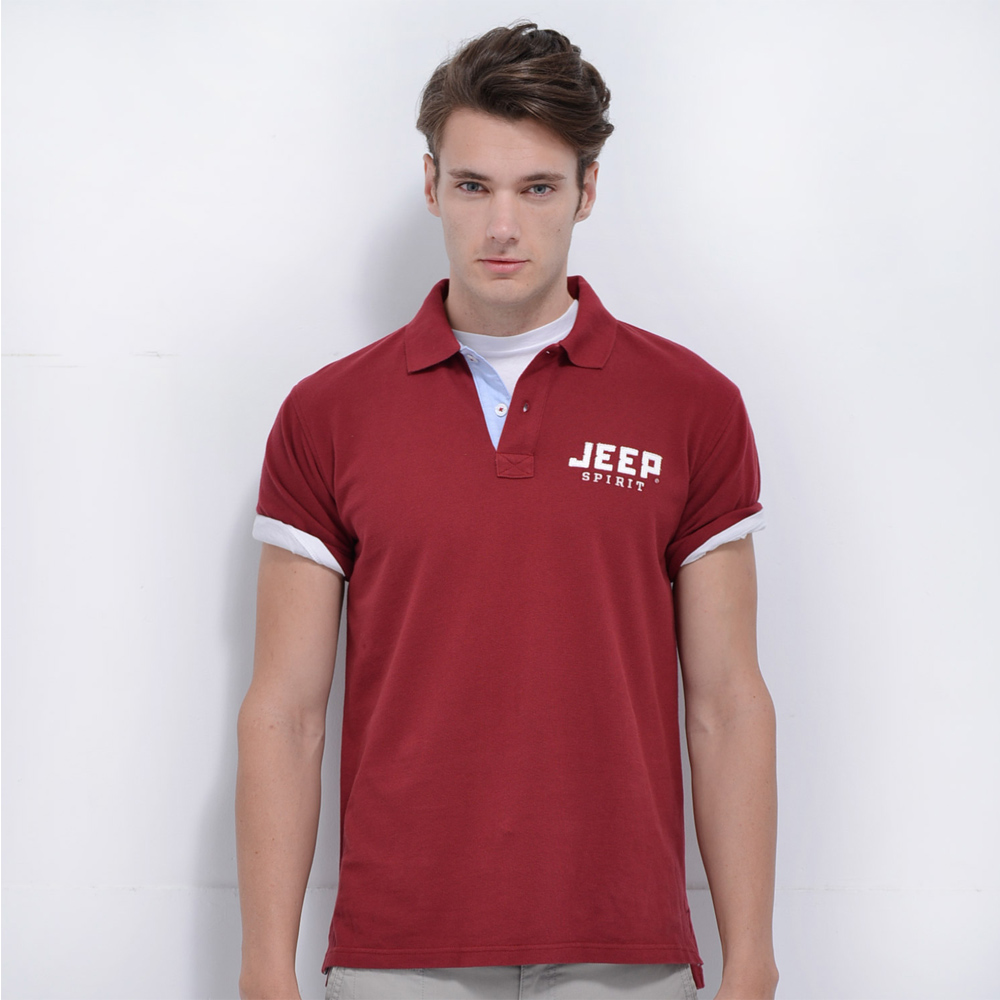 Jeep 純色經典POLO衫-紅色
