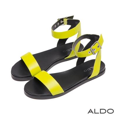 ALDO-摩登普普風金屬釦帶繫踝涼鞋-沁涼螢光綠
