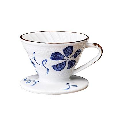 Tiamo V01日式手繪陶瓷咖啡濾器-古染花(HG5548A)