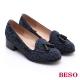BESO 學院風範 全真皮復古流蘇樂福鞋 藍