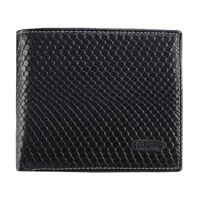 Valentino Rudy - 簡約魚鱗紋牛皮短皮夾-黑(Z7841)