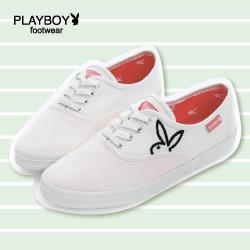 帆布鞋 PLAYBOY 簡約 素色 時尚-白