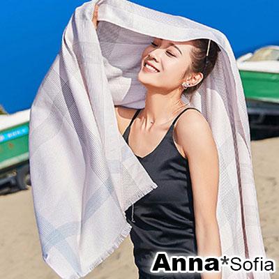 AnnaSofia 點續細織千鳥格紋 毛邊大尺寸披肩圍巾(粉系)