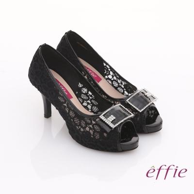 effie濃情藝文 全真皮拼接蕾絲鑽飾方扣魚口鞋 黑