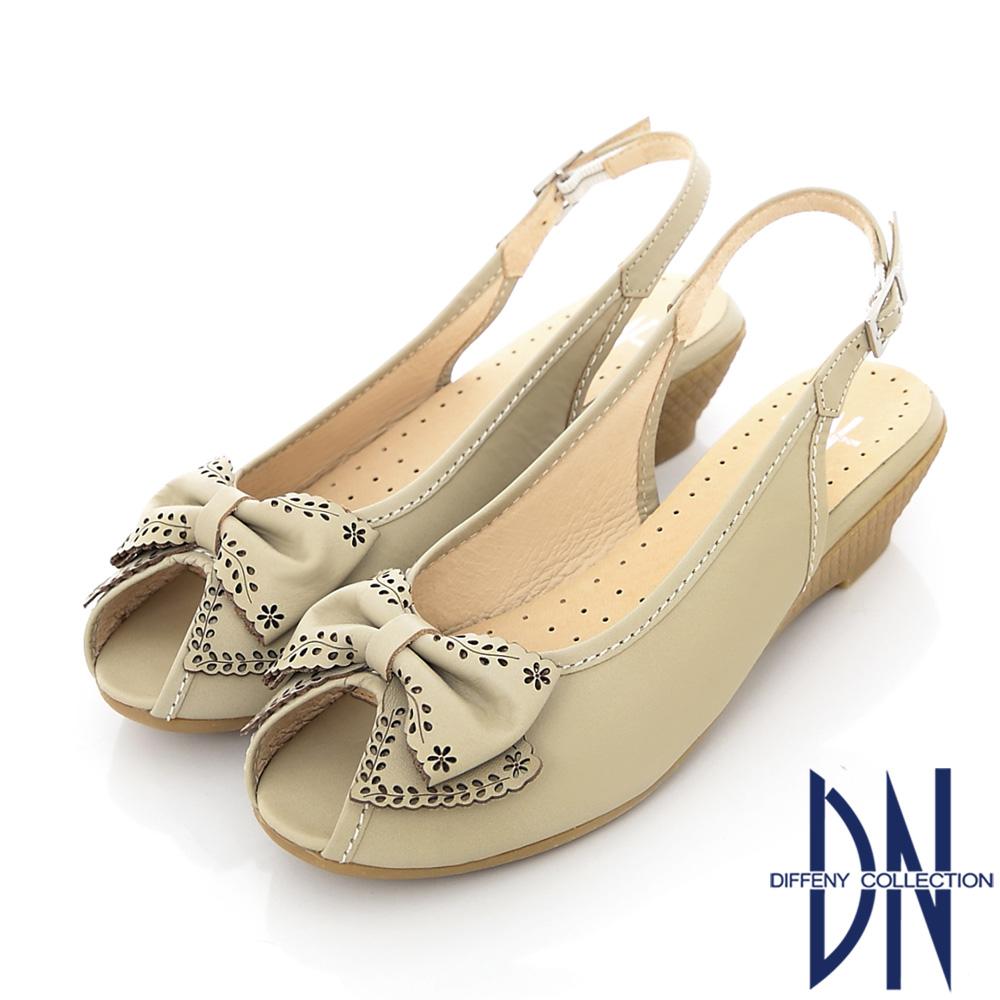 DN 甜美雅緻 MIT立體蝴蝶結踝帶涼鞋 米