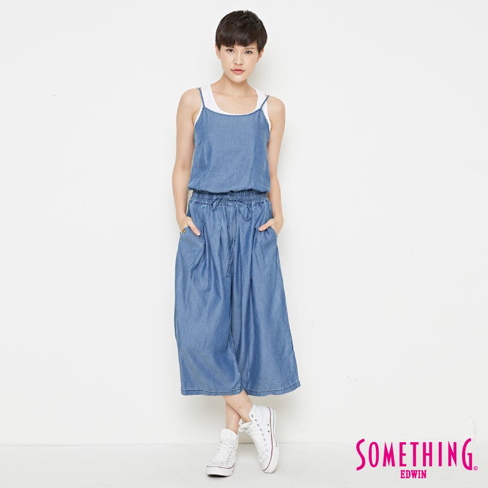 SOMETHING 天絲®垂墜柔軟連身褲-女-拔洗藍