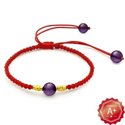 A+ 金彩一生-紫水晶 轉運招財紅繩手鍊