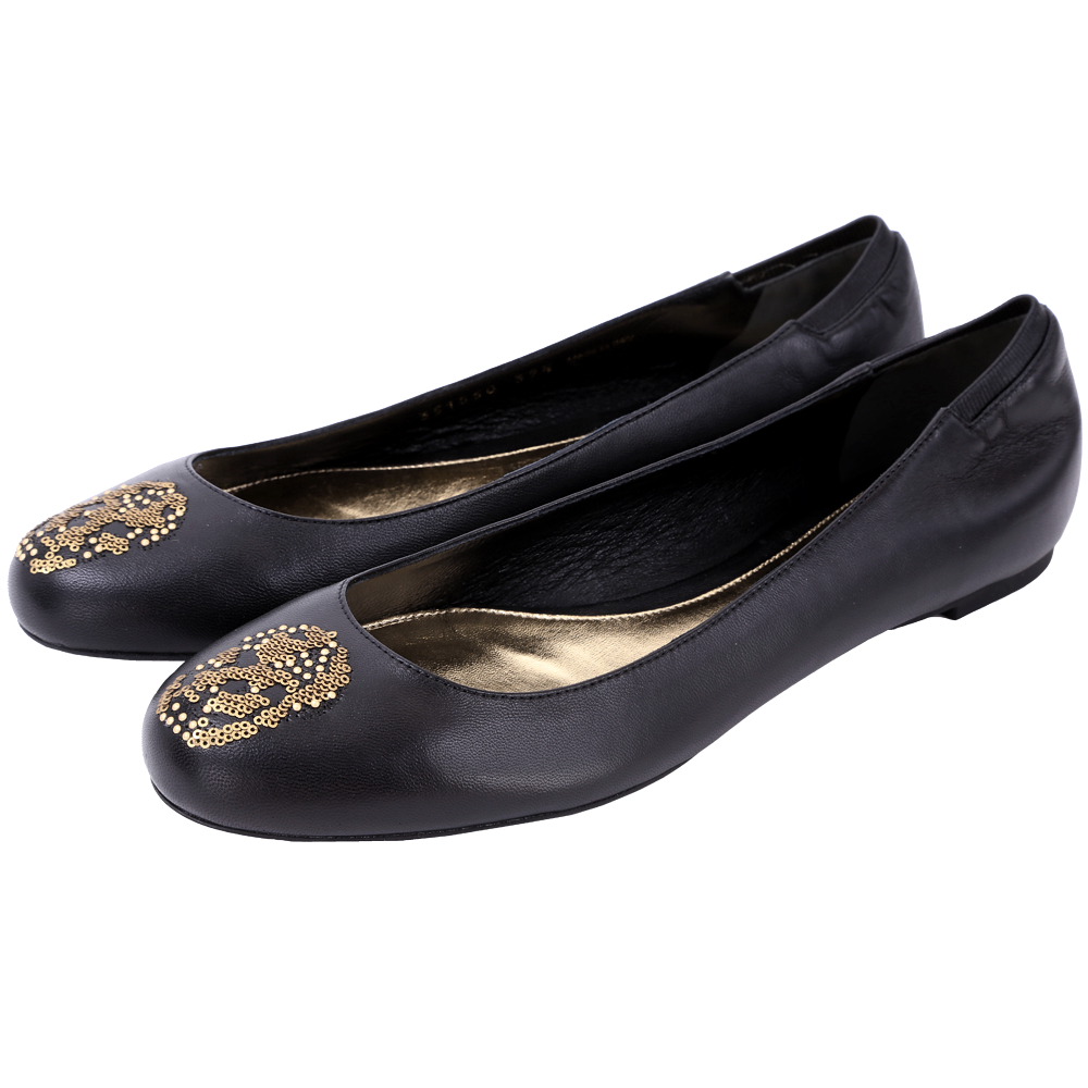 Alexander McQueen skull 亮片骷髏頭芭蕾舞鞋(黑色)