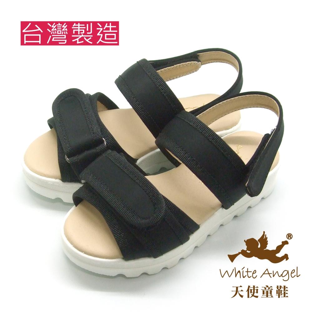 天使童鞋-J826  休閒隨性厚底涼鞋 (中-大童)-百搭黑
