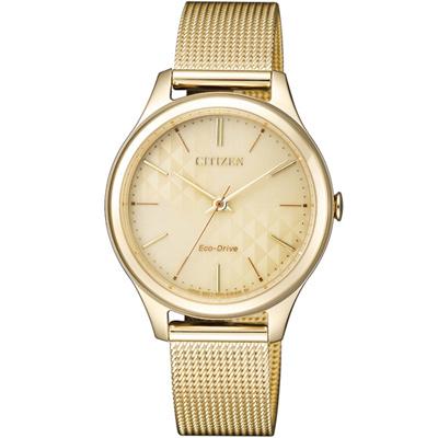 CITIZEN-風情萬種米蘭風時尚光動能腕錶-EM0502-86P-迷人金-32mm