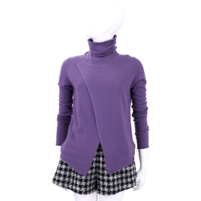 Andre Maurice  紫色高領裁片造型長袖上衣(100% CASHMERE)
