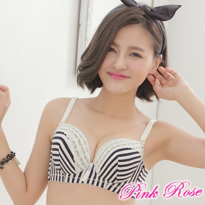 舒棉內衣-條紋舒適成套內衣A-C罩杯-黑色-粉紅薔薇