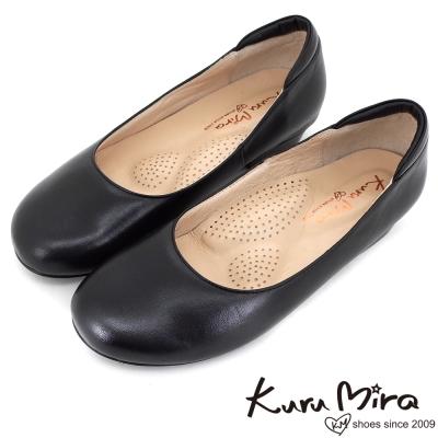 Kuru-Mira-MIT全真皮寬楦圓頭軟底低跟鞋