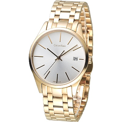 cK-TIME-極簡風藍寶石水晶鏡面腕錶-K4N2