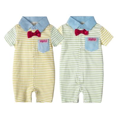 baby童衣 連身衣 條紋翻領前開扣拼接袖 52230