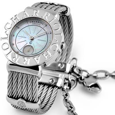 CHARRIOL 夏利豪鎖鍊系列羅馬數字腕錶-貝殼面/30mm