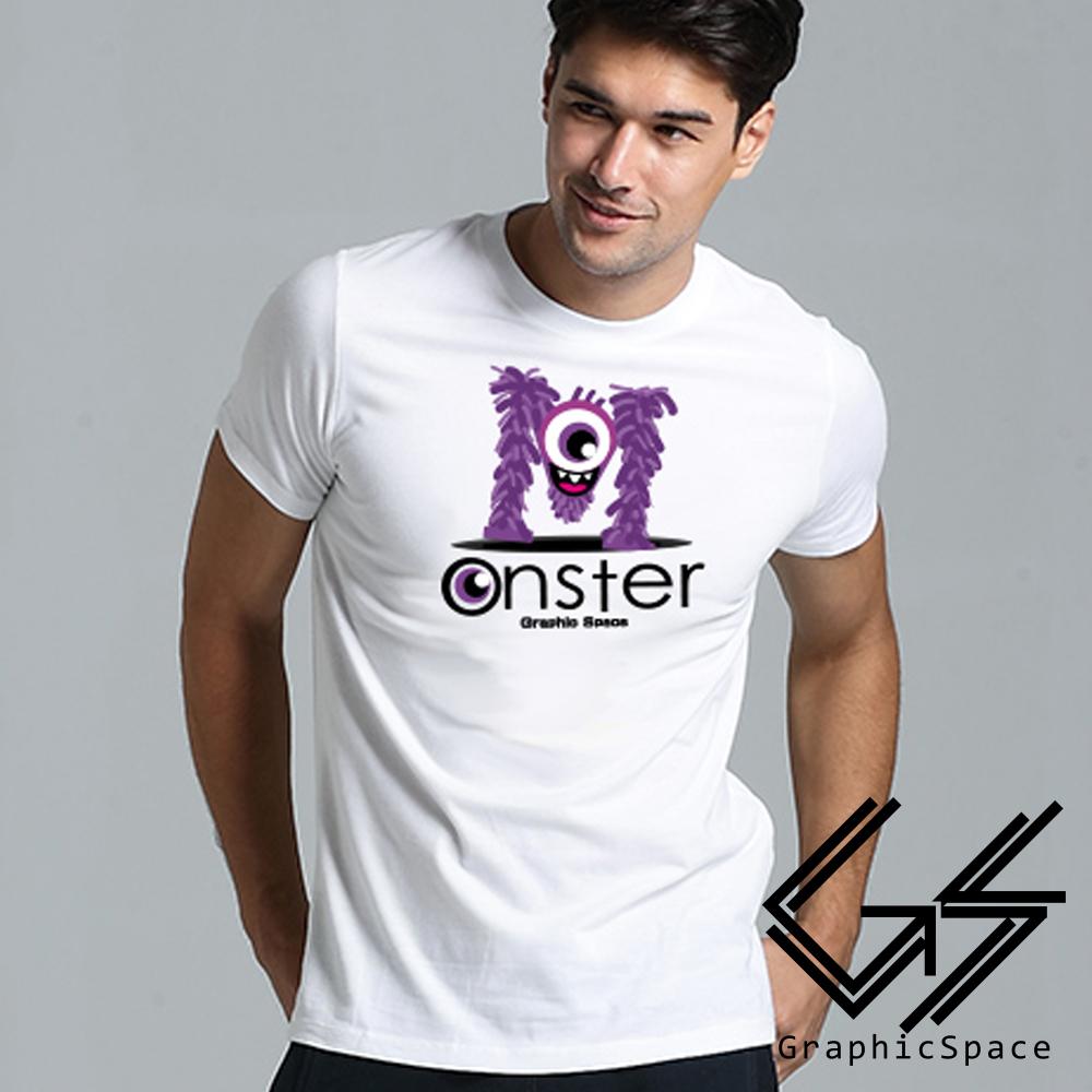 MONSTER怪獸造型字體磨毛水洗T恤 (白色)-GraphicSpace