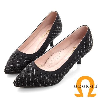 GEORGE 喬治-水鑽斜紋真皮尖頭中跟鞋(婚鞋)-黑色