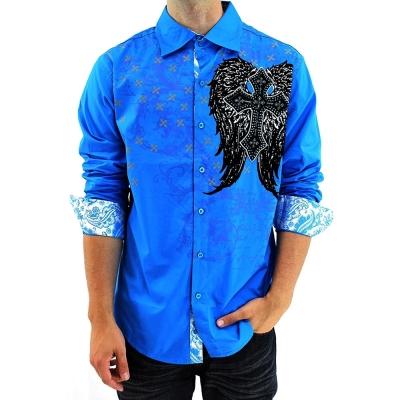 [摩達客]美國進口潮時尚設計【Victorious】十字之翼藍色長袖襯衫