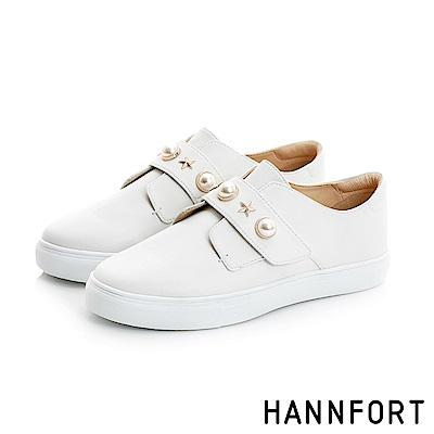 HANNFORT CAMPUS復古珍珠厚底休閒鞋-女-珍珠白