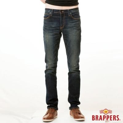 BRAPPERS 男款 男用彈性中腰窄版直統褲-藍