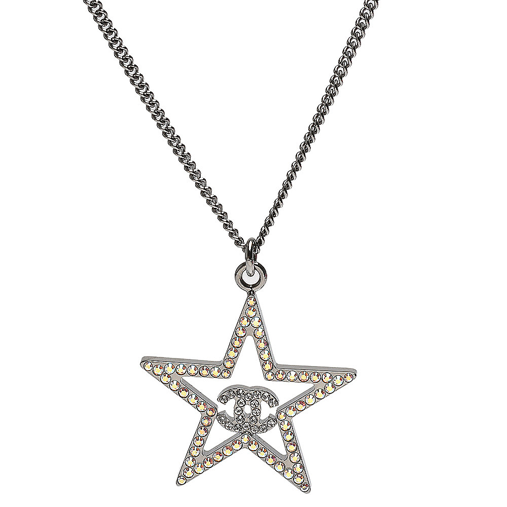 CHANEL 經典雙C LOGO五角星藍色水鑽飾邊項鍊(銀)