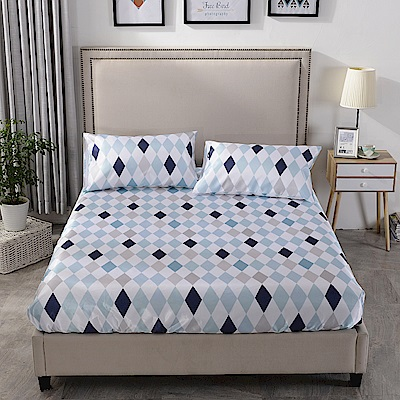 Grace Life 幾何空間 雙人可水洗涼感絲床包三件組