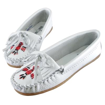 MINNIETONKA 白色雷鳥真皮莫卡辛豆豆鞋