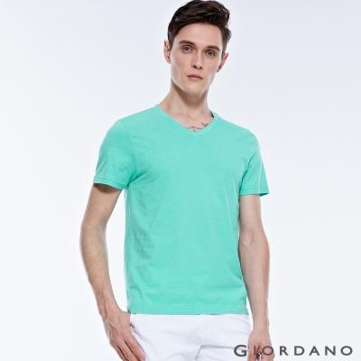 GIORDANO-男裝素色純棉V領短袖TEE-14-湖水藍色