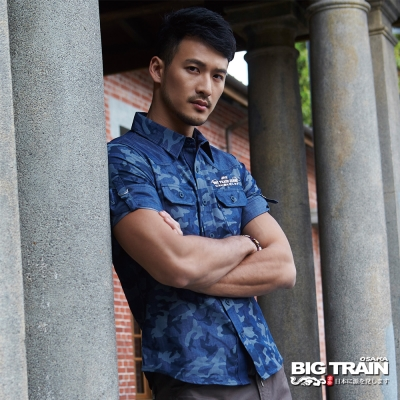 BIG TRAIN 迷彩印花五分袖襯衫-男-深藍