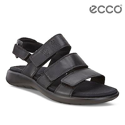 ECCO SOFT 5 SANDAL 女 魔鬼氈休閒涼鞋-黑