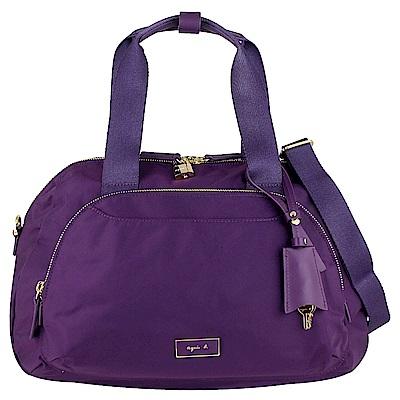 agnes b. VOYAGE 紫色尼龍鎖頭兩用斜背/旅行包