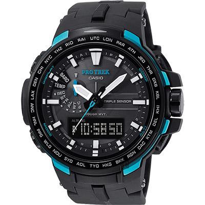 CASIO 卡西歐 PRO TREK 專業登山太陽能電波手錶-藍/51.6mm