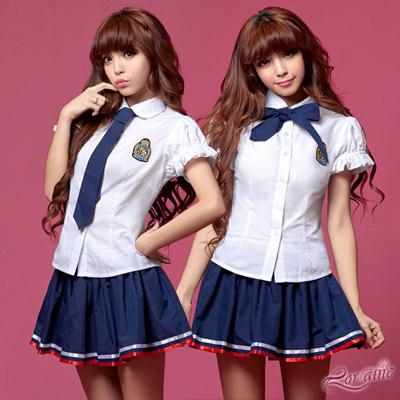 Lorrine 藍白三件式學生角色扮演服