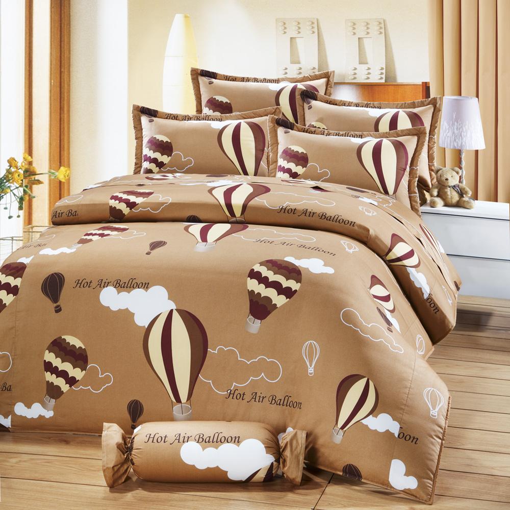 艾莉絲-貝倫 愛戀熱氣球 100%純棉 雙人加大鋪棉涼被床包組