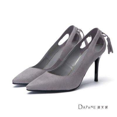 達芙妮DAPHNE 高跟鞋-流蘇蝴蝶結後挖空絨布尖頭鞋-灰