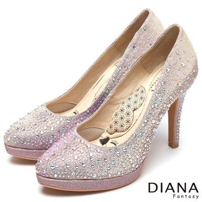 DIANA 超厚切LADY款--甜漾迷人奢華耀眼水鑽跟鞋-粉