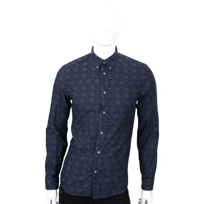 KENZO 深藍色飛碟圖騰印花長袖襯衫