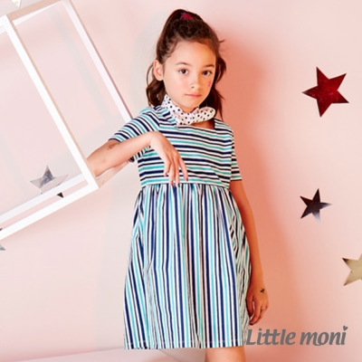Little moni 多彩條紋洋裝 碧綠