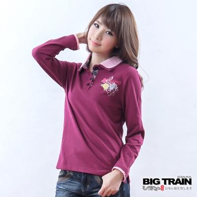 BIG TRAIN 女款 小金魚牡丹POLO衫-紫紅