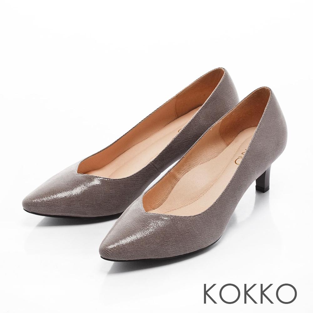 KOKKO-經典尖頭透氣真皮高跟鞋- 古典灰