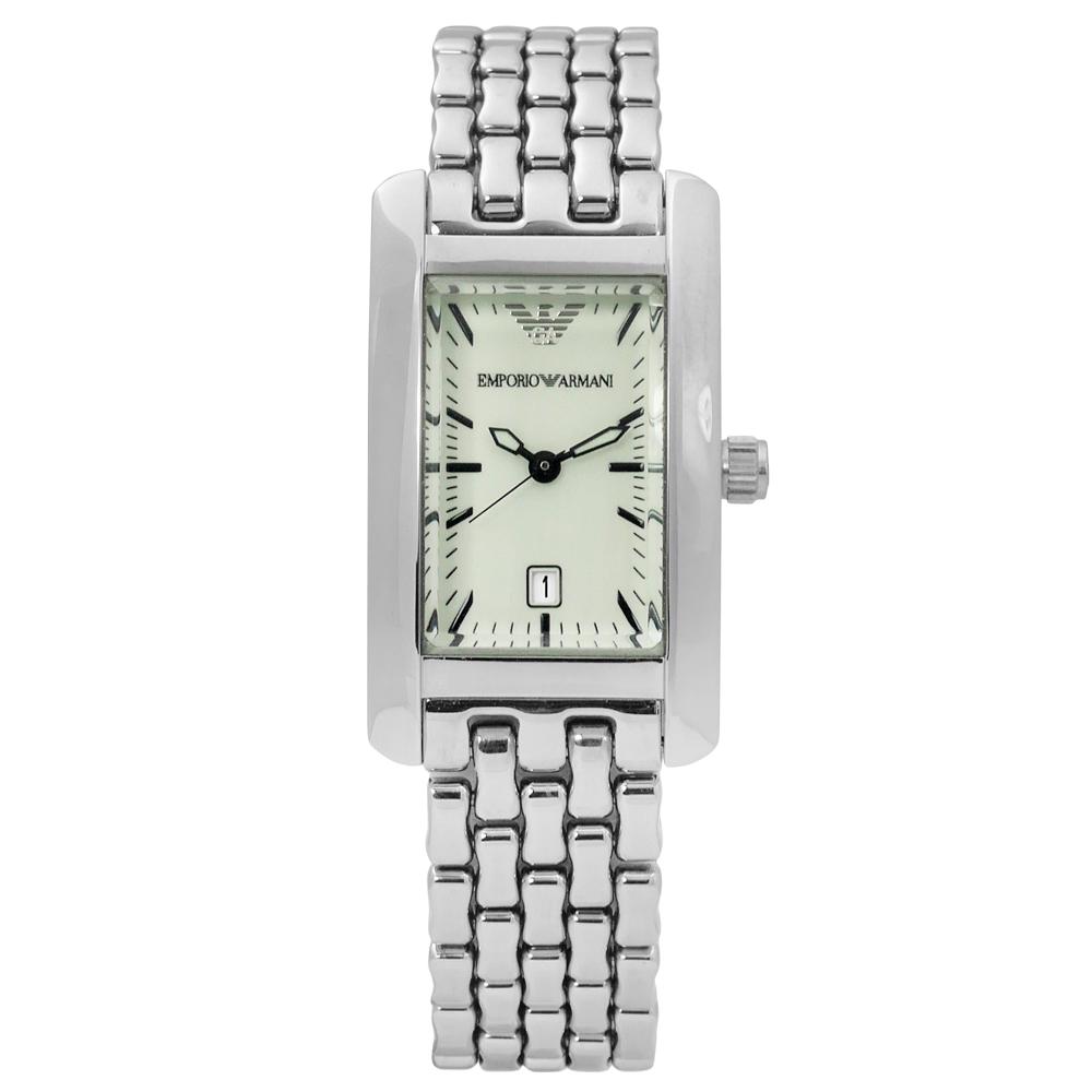EMPORIO ARMANI 亞曼尼時尚摩登義式風情日期不鏽鋼手錶-淺綠色/20mm