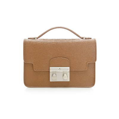 義大利BGilio - 十字紋牛皮俏麗晚宴手提鏈帶包 - 棕色 1692.006