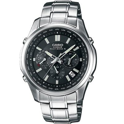 CASIO LINEAGE 都會光廊六局電波指針錶-黑/46.3mm