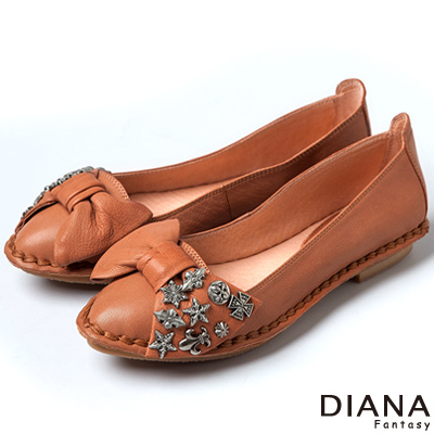 DIANA-超軟Q-雙色羊皮蝴蝶結娃娃平底鞋-棕