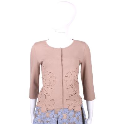 ALBERTA FERRETTI 可可色雕花設計七分袖外套