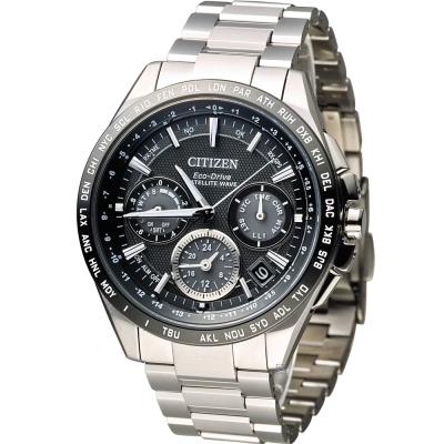 CITIZEN 星辰光動能【鈦】感光衛星計時腕錶(CC9015-54E)-黑/44mm