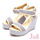 JMS-日雜必備款-普普風小波點楔型涼鞋-灰色