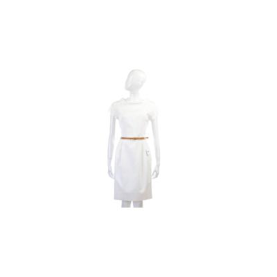 MOSCHINO 白色浮雕織紋設計短袖洋裝(附腰帶)